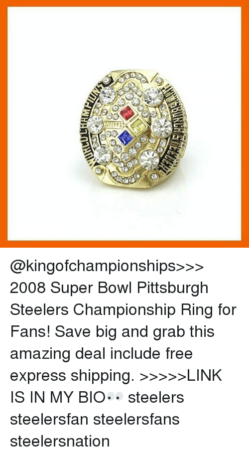 Aa O2 2008 Super Bowl Pittsburgh Steelers Championship Ring For Fans