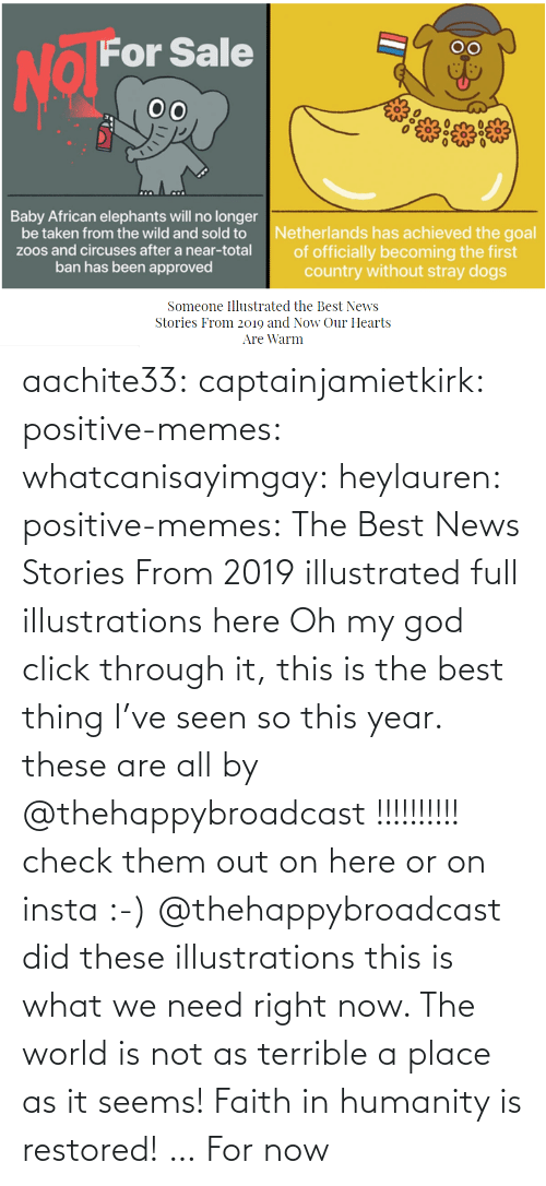 Click, God, and Memes: aachite33: captainjamietkirk:   positive-memes:  whatcanisayimgay:   heylauren:  positive-memes:    The Best News Stories From 2019 illustrated full illustrations here  Oh my god click through it, this is the best thing I've seen so this year.  these are all by @thehappybroadcast !!!!!!!!!! check them out on here or on insta :-)     @thehappybroadcast did these illustrations  this is what we need right now. The world is not as terrible a place as it seems!    Faith in humanity is restored! … For now