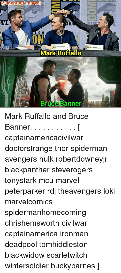 Memes, Deadpool, and Hulk: aagentsof marvel  NAL  10  G 0  G 0  ON  Mark Raftal  Mark Ruffallo  Bruce Banner Mark Ruffallo and Bruce Banner. . . . . . . . . . . [ captainamericacivilwar doctorstrange thor spiderman avengers hulk robertdowneyjr blackpanther steverogers tonystark mcu marvel peterparker rdj theavengers loki marvelcomics spidermanhomecoming chrishemsworth civilwar captainamerica ironman deadpool tomhiddleston blackwidow scarletwitch wintersoldier buckybarnes ]