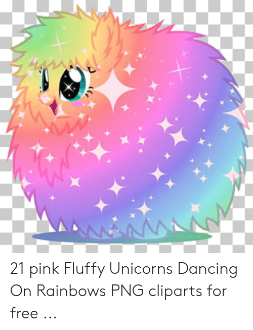 AANNA 21 Pink Fluffy Unicorns Dancing on Rainbows PNG