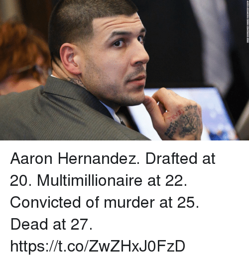 Aaron Hernandez, Convicted, and Murder: Aaron Hernandez. Drafted at 20. Multimillionaire at 22. Convicted of murder at 25. Dead at 27. https://t.co/ZwZHxJ0FzD