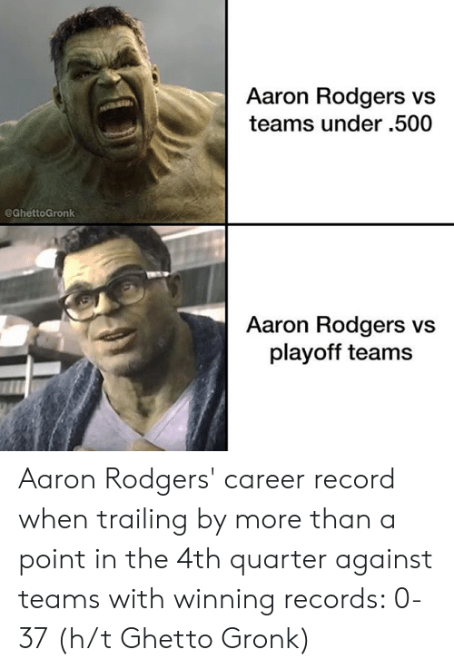 Aaron Rodgers, Ghetto, and Nfl: Aaron Rodgers vs  teams under .500  @GhettoGronk  Aaron Rodgers vs  playoff teams Aaron Rodgers' career record when trailing by more than a point in the 4th quarter against teams with winning records: 0-37  (h/t Ghetto Gronk)