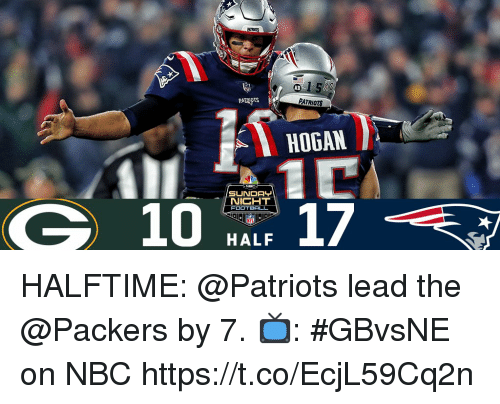 Memes, Patriotic, and Packers: AB  PATRIOTS  PATRIOTS  HOGAN  NICHT  10 har 17  FOOT  HALF HALFTIME: @Patriots lead the @Packers by 7.  📺: #GBvsNE on NBC https://t.co/EcjL59Cq2n