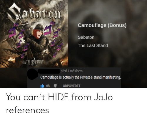 Anime, Jojo, and The Last Stand: abacom  Camouflage (Bonus)  Sabaton  The Last Stand  THE LAST STAND  před 1 mesícem  Camouflage is actually the Private's stand manifesting  68  ODPOVĚDĚT You can´t HIDE from JoJo references