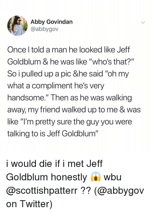 "Memes, Twitter, and Jeff Goldblum: Abby Govindan  @abbygov  Once l told a man he looked like Jeff  Goldblum & he was like ""who's that?""  So i pulled up a pic &he said ""oh my  what a compliment he's very  handsome."" Then as he Was walking  away, my friend walked up to me & was  like ""l'm pretty sure the guy you were  talking to is Jeff Goldblum i would die if i met Jeff Goldblum honestly 😱 wbu @scottishpatterr ?? (@abbygov on Twitter)"