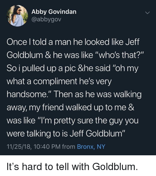 """Jeff Goldblum, Once, and Friend: Abby Govindan  @abbygov  Once l told a man he looked like Jeff  Goldblum & he was like """"who's that?""""  So i pulled up a pic &he said """"oh my  what a compliment he's very  handsome."""" Then as he was walking  away, my friend walked up to me &  was like """"l'm pretty sure the guy you  were talking to is Jeff Goldblum""""  11/25/18, 10:40 PM from Bronx, NY It's hard to tell with Goldblum."""