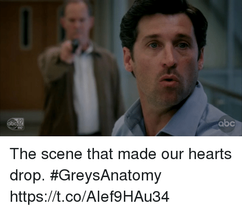 Abc, Memes, and Hearts: abc  abc  WNCF The scene that made our hearts drop. #GreysAnatomy https://t.co/AIef9HAu34