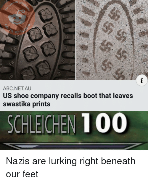 Abc, Lurking, and Feet: ABC.NET.AU  US shoe company recalls boot that leaves  swastika prints  SCHLEICHEN 1 00