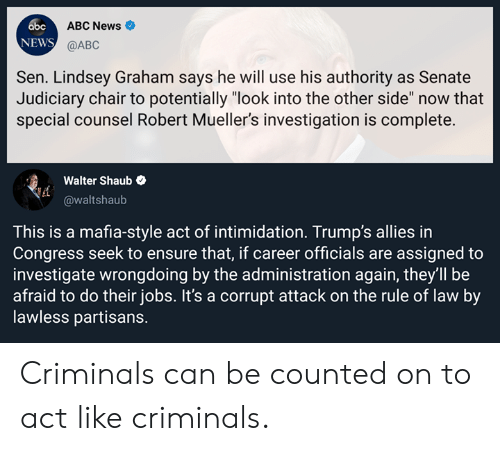 """Abc, Memes, and News: abc  NEWS  ABC News  @ABC  Sen. Lindsey Graham says he will use his authority as Senate  Judiciary chair to potentially """"look into the other side"""" now that  special counsel Robert Mueller's investigation is complete.  Walter Shaub  @waltshaub  This is a mafia-style act of intimidation. Trump's allies in  Congress seek to ensure that, if career officials are assigned to  investigate wrongdoing by the administration again, they'll be  afraid to do their jobs. It's a corrupt attack on the rule of law by  lawless partisans. Criminals can be counted on to act like criminals."""