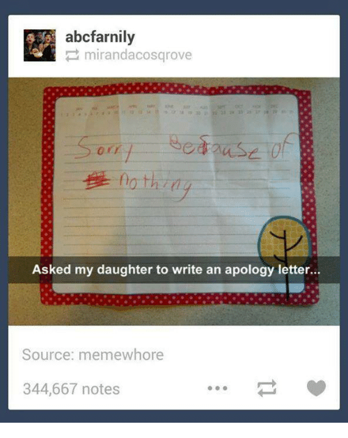 Abcfarnily Mirandacos Grove Asked My Daughter to Write an Apology