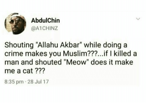 """Allahu Akbar, Crime, and Muslim: AbdulChin  @A1CHINZ  Shouting """"Allahu Akbar"""" while doing a  crime makes you Muslim???...if I killed a  man and shouted """"Meow"""" does it make  me a cat ???  8:35 pm 28 Jul 17"""