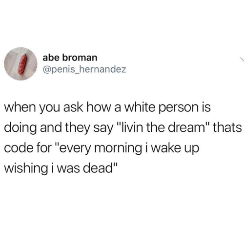 "Penis, White, and How: abe broman  @penis_hernande:z  when you ask how a white person is  doing and they say ""livin the dream"" thats  code for ""every morning i wake up  wishing i was dead"