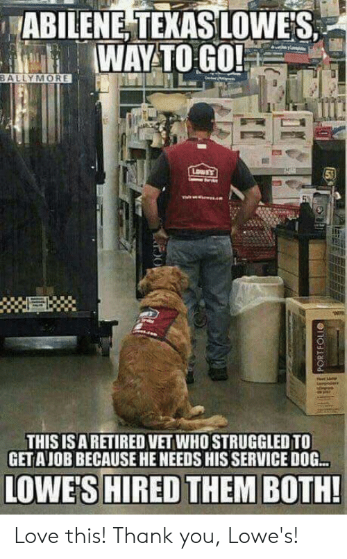 Love, Memes, and Thank You: ABILENE, TEKAS LOWES  WAYTO GO!  BALLYMORE  THIS ISARETIRED VET WHO STRUGGLED TO  GETAJOB BECAUSE HE NEEDS HIS SERVICE DOG.  LOWE'S HIRED THEM BOTH! Love this! Thank you, Lowe's!