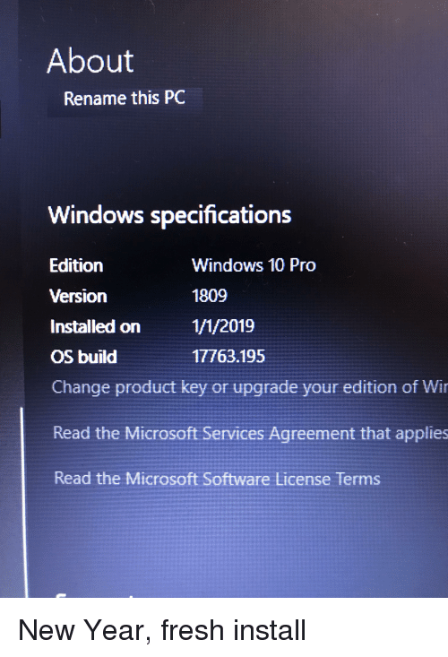 About Rename This PC Windows Specifications Edition Version Windows