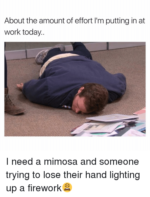 Funny, Work, and Today: About the amount of effort I'm putting in at  work today. I need a mimosa and someone trying to lose their hand lighting up a firework😩