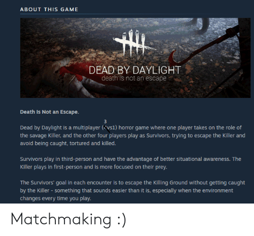 ABOUT THIS GAME DEAD BY DAYLIGHT Death Is Not an Escape
