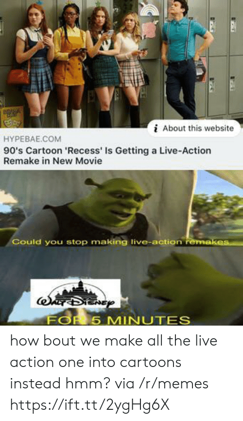 Memes, Recess, and Cartoon: About this website  HYPEBAE.COM  90's Cartoon 'Recess' Is Getting a Live-Action  Remake in New Movie  Could you stop making live-action remakes  FOR 5 MINUTES how bout we make all the live action one into cartoons instead hmm? via /r/memes https://ift.tt/2ygHg6X