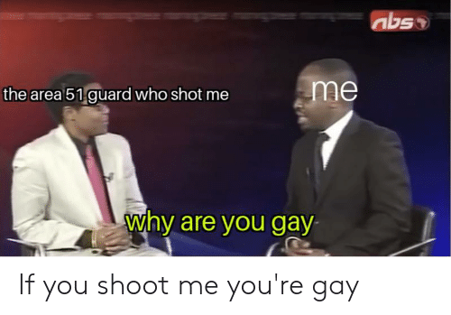 Area 51, Gay, and Who: abso  me  the area 51 guard who shot me  why are you gay If you shoot me you're gay
