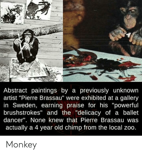 """Paintings, Monkey, and Sweden: Abstract paintings by a previously unknown  artist """"Pierre Brassau"""" were exhibited at a gallery  in Sweden, earning praise for his """"powerful  brushstrokes"""" and the """"delicacy of a ballet  dancer"""". None knew that Pierre Brassau  actually a 4 year old chimp from the local zoo. Monkey"""