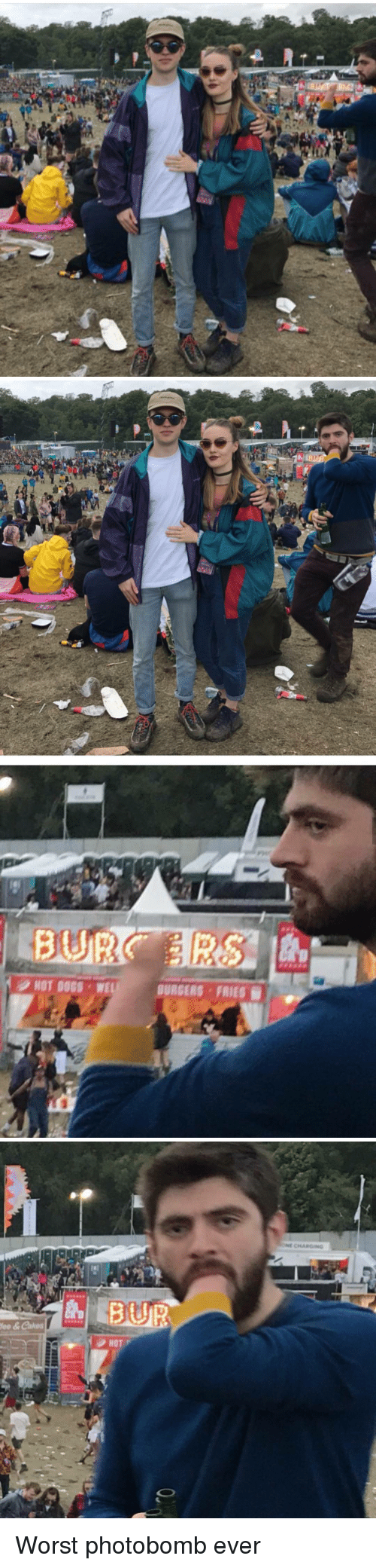 Dogs, Funny, and Photobomb: Ac  n   P   HOT DOGS WEL  BURGERS FRIES   fee & Cakes  BUR  HOT  ONE CHARGING Worst photobomb ever