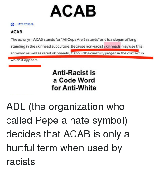 Acab 0 Hate Symbol Acab The Acronym Acab Stands For All Cops Are