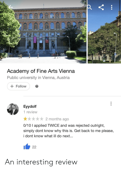Academy Of Fine Arts Vienna Public University In Vienna Austria Follow Eyydolf 1 Review 2 Months Ago 010 I Applied Twice And Was Rejected Outright Simply Dont Know Why This Is Get