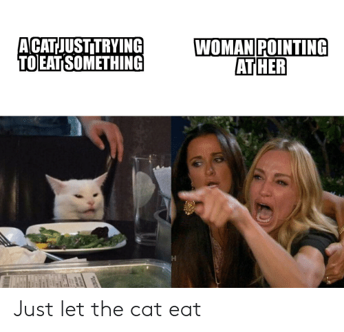Acatjustitrying To Eat Something Woman Pointing At Her Just