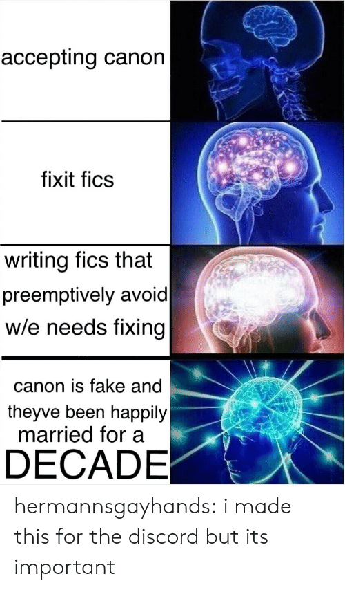 Fake, Target, and Tumblr: accepting canon  fixit fics  writing fics that  preemptively avoid  w/e needs fixing  canon is fake and  theyve been happily  married for a  DECADE hermannsgayhands: i made this for the discord but its important