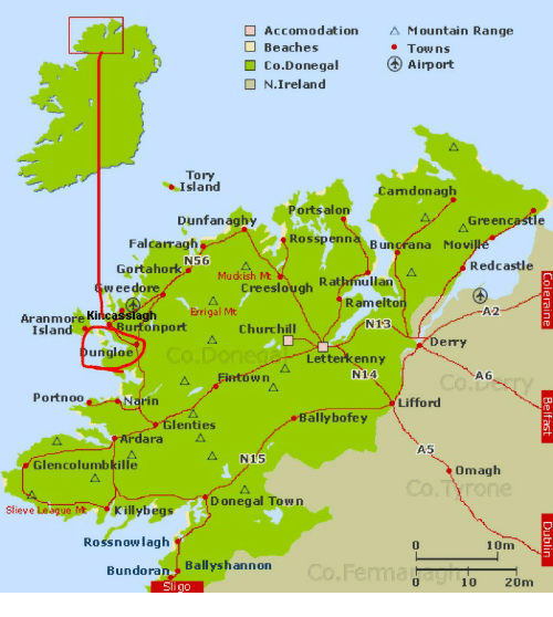 Map Of Ireland Beaches.Accomodation A Mountain Range Beaches Towns Airport Co Donegal