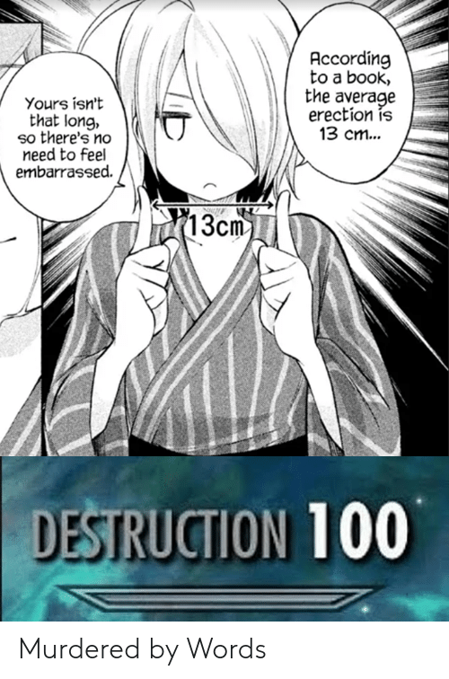 Anime, Book, and Erection: Accordin  to a book,  the average  erection is  13 cm...  Yours isn't  that long,  so there's no  need to feel  embarrassed.  13cm  DESTRUCTION 100 Murdered by Words