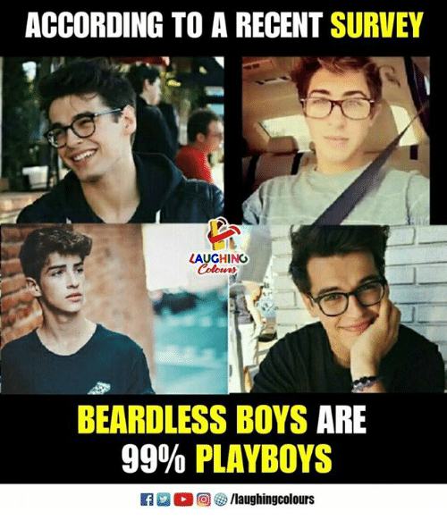 Indianpeoplefacebook, According, and Boys: ACCORDING TO A RECENT SURVEY  LAUGHING  BEARDLESS BOYS ARE  99% PLAYBOYS