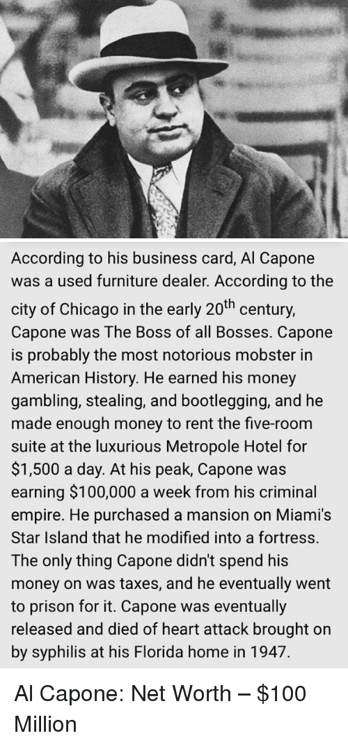 According to his business card al capone was a used furniture dealer bootleg memes and al capone according to his business card al capone colourmoves