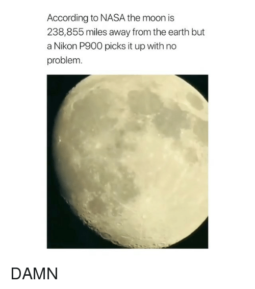Ironic, Nasa, and Earth: According to NASA the moon is  238,855 miles away from the earth but  a Nikon P900 picks it up with no  problem DAMN