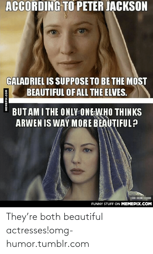 Beautiful, Funny, and Omg: ACCORDING TO PETER JACKSON  GALADRIEL IS SUPPOSE TO BE THE MOST  BEAUTIFUL OF ALL THE ELVES.  BUT AM I THE ONLY ONE WHO THINKS  ARWEN IS WAY MORE BEAUTIFUL?  FUNNY STUFF ON MEMEPIX.COM  MEMEPIX.COM They're both beautiful actresses!omg-humor.tumblr.com