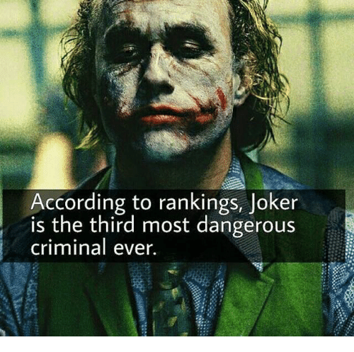 According To Rankings Joker Is The Third Most Dangerous
