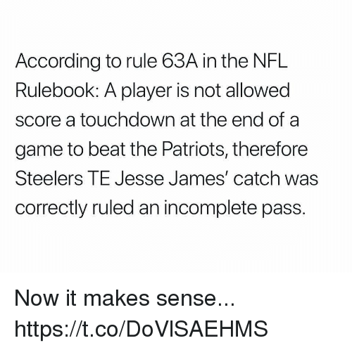 Mike Tomlin, Nfl, and Patriotic: According to rule 63A in the NFL  Rulebook: A player is not allowed  score a touchdown at the end of a  game to beat the Patriots, therefore  Steelers TE Jesse James' catch was  correctly ruled an incomplete pass. Now it makes sense... https://t.co/DoVlSAEHMS