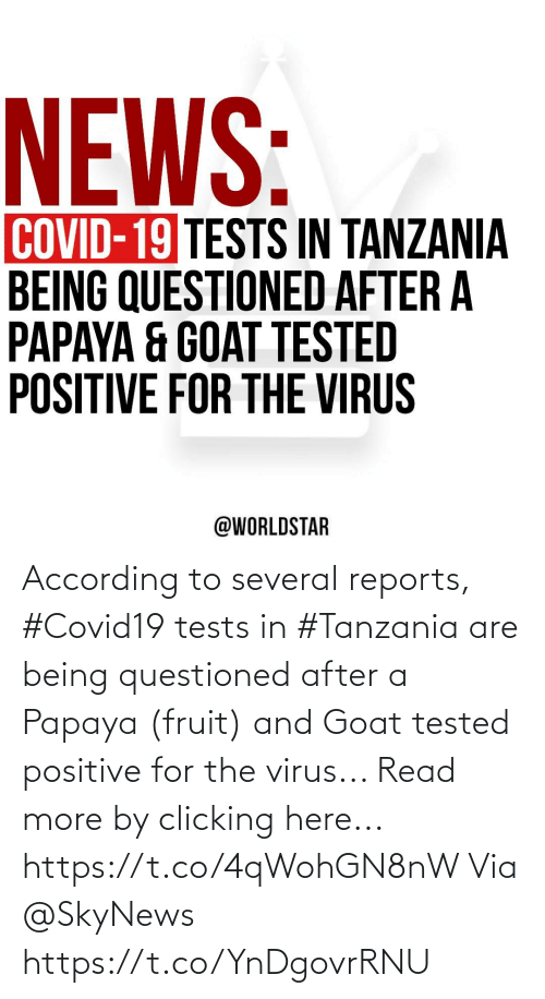 Goat, According, and Virus: According to several reports, #Covid19 tests in #Tanzania are being questioned after a Papaya (fruit) and Goat tested positive for the virus... Read more by clicking here... https://t.co/4qWohGN8nW Via @SkyNews https://t.co/YnDgovrRNU