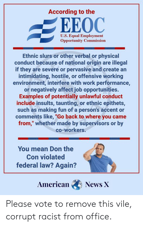 """Memes, News, and Work: According to the  EEOC  U.S. Equal Employment  Opportunity Commission  Ethnic slurs or other verbal or physical  conduct because of national origin are illegal  if they are severe or pervasive and create an  intimidating, hostile, or offensive working  environment, interfere with work performance,  or negatively affect job opportunities.  Examples of potentially unlawful conduct  include insults, taunting, or ethnic epithets,  such as making fun of a person's accent or  comments like, """"Go back to where you came  from,"""" whether made by supervisors or by  co-workers.  You mean Don the  Con violated  federal law? Again?  American  News X Please vote to remove this vile, corrupt racist from office."""