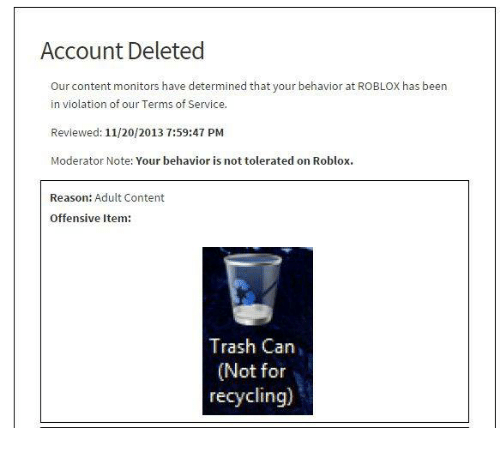Account Deleted Our Content Monitors Have Determined That Your