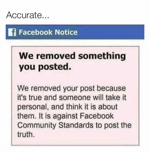 Accurate F Facebook Notice We Removed Something You Posted