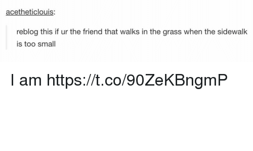 Friend, Grass, and This: acetheticlouis:  reblog this if ur the friend that walks in the grass when the sidewalk  is too small I am https://t.co/90ZeKBngmP