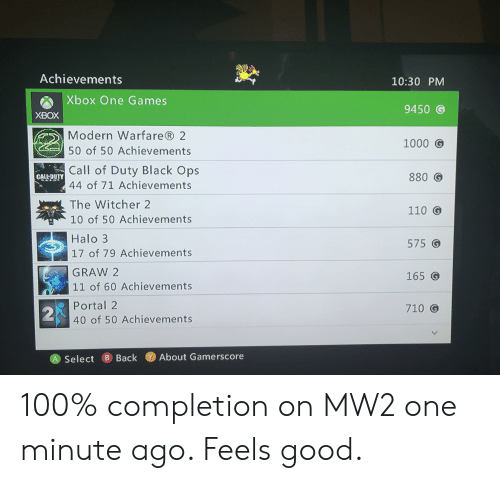 Achievements 1030 PM Xbox One Games 9450 G XBOX Modern Warfare® 2