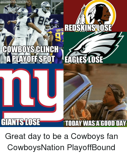 acowboys central redskins lose cowboy sclinch aplayoffspot eagleslose giants lose today 8214132 ✅ 25 best memes about redskin redskin memes