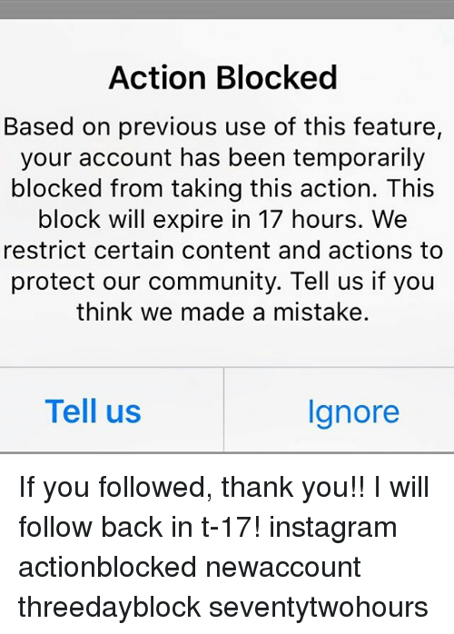 Action Blocked Based on Previous Use of This Feature Your Account