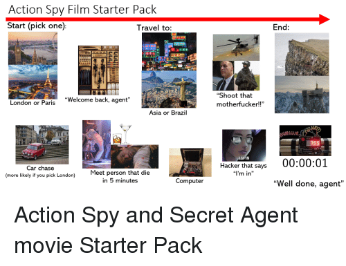 "Starter Packs, Brazil, and Chase: Action Spy Film Starter Pack  Start (pick one)  l ravel to:  End:  明上夜總會  ""Shoot that  motherfucker!!""  ""Welcome back, agent""  London or Paris  Asia or Brazil  Hacker that says 00:00:01  Car chase  (more likely if you pick London)  Meet person that die  ""I'm in  in 5 minutes  Computer  ""Well done, agent"""