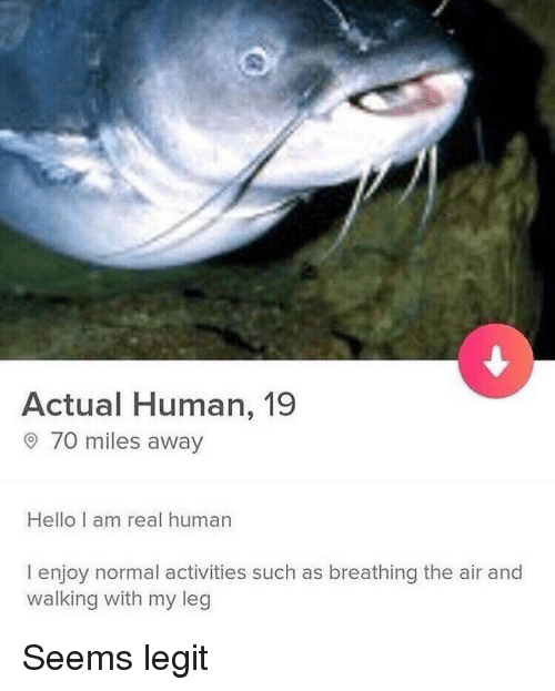 Hello, Memes, and 🤖: Actual Human, 19  o 7omiles away  Hello I am real human  I enjoy normal activities such as breathing the air and  walking with my leg Seems legit