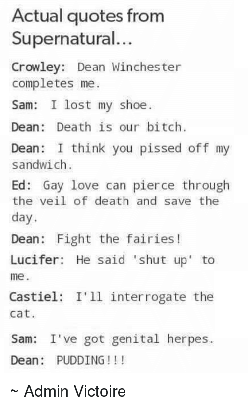 Actual Quotes From Supernatural Crowley Dean Winchester Completes Me