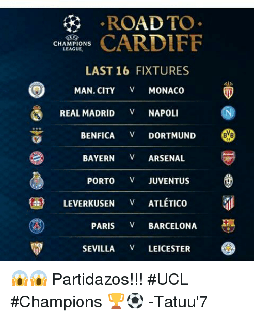 AD TO RO CARDIFF CHAMPIONS LEAGUE LAST 16 FIXTURES MAN CITY