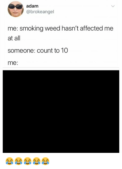 Smoking, Weed, and Girl Memes: adam  @brokeangel  me: smoking weed hasn't affected me  at all  someone: count to 10  me: 😂😂😂😂😂