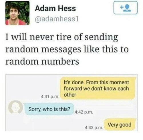 Sorry, Good, and Never: Adam Hess  @adamhess1  I will never tire of sending  random messages like this to  random numbers  It's done. From this moment  forward we don't know each  4:41 p.m. other  Sorry, who is this? 4:42 p.rm  Very good  4:43 p.m.
